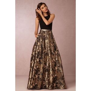 BHLDN Aidan Mattox black and gold Sage Dress